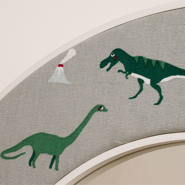 Dinosaurs Mirror Fabric Close Up