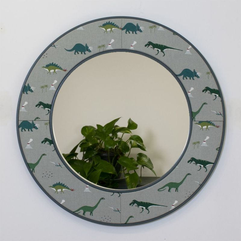 Dinosaur Round Mirror with Inchyra Blue Frame