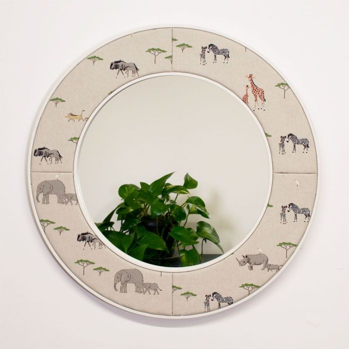 The Lewa Safari Round Mirror with African Animals