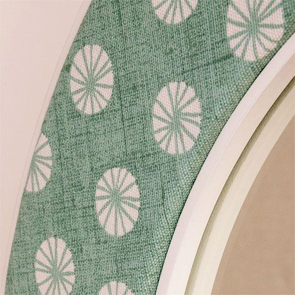 Close up of the Octavia in Aqua Fabric