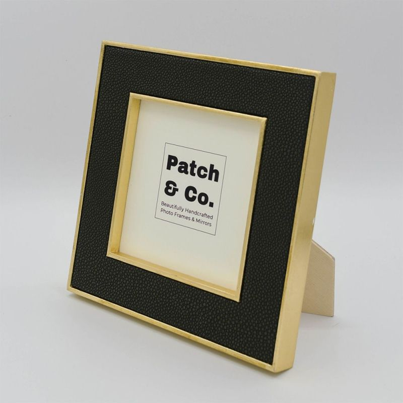 Otis Moss Square Photo Frame with Gold Frame and Moss Faux Shagreen