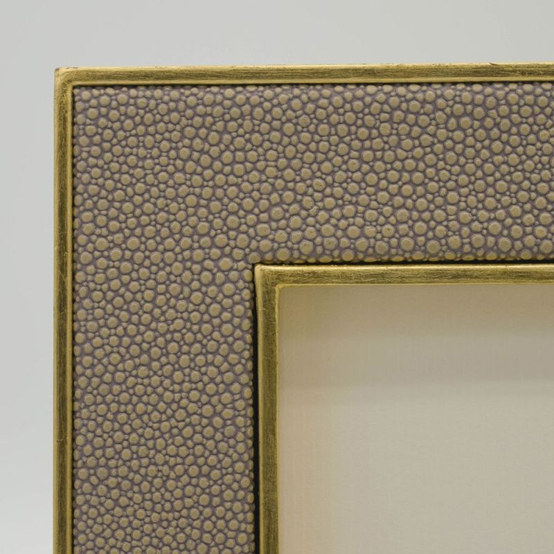 Close Up Photo of the Sand Coloured Faux Shagreen Photo Frame with Gold Frame