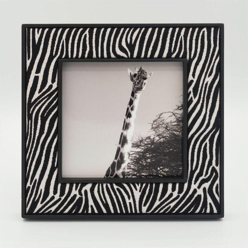 Square Zebra Photo Frame with Black Frame and Giraffe Photo