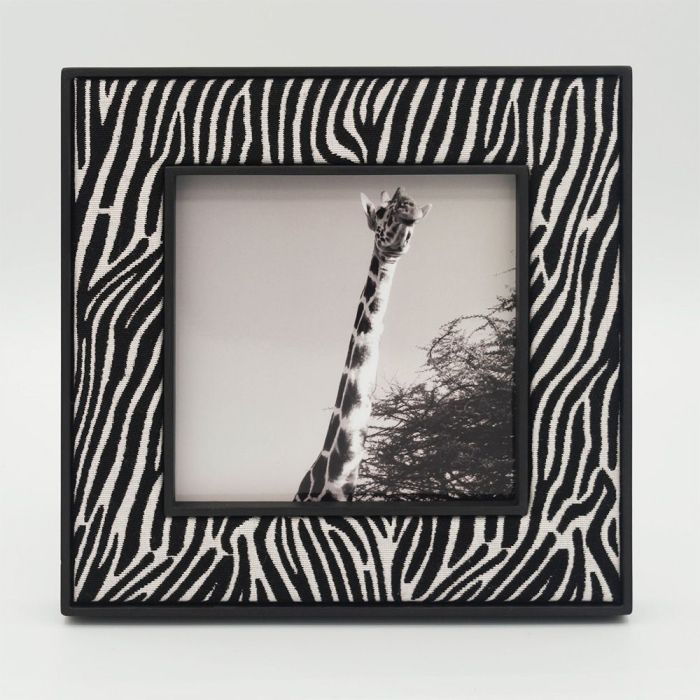 Square Zebra Photo Frame with Black Frame and Giraffe Photo