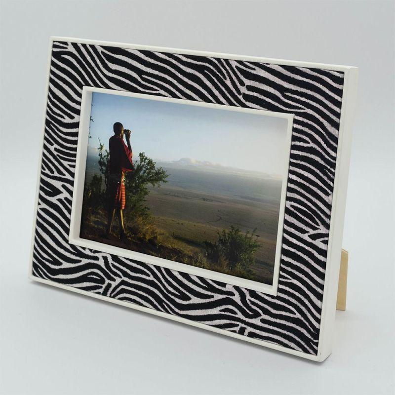 7 x 5 Lewa Zebra Print Fabric Photo Frame with Photograph