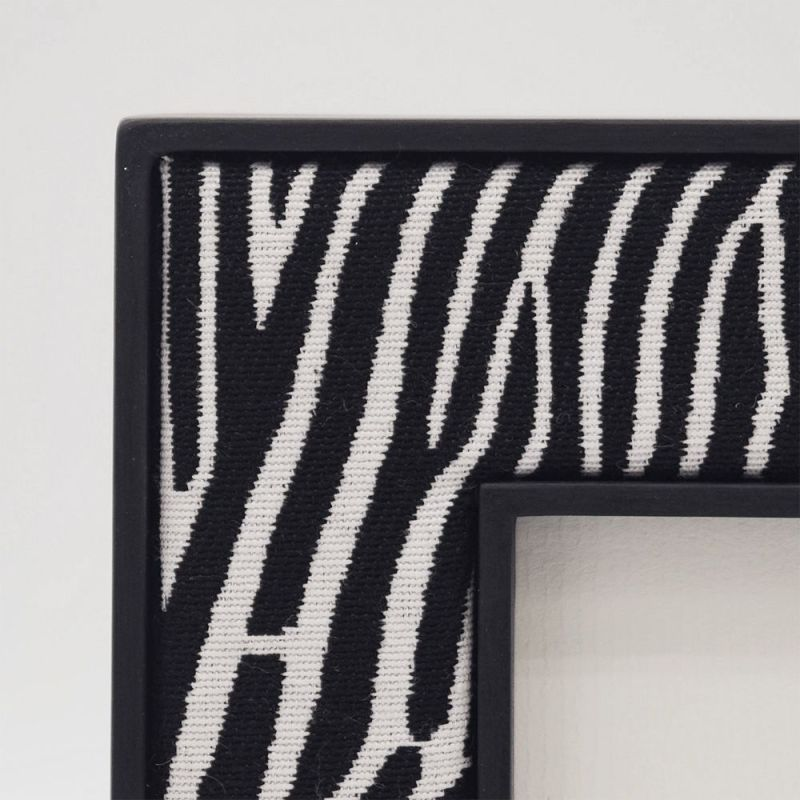 Close Up Photo of the corner detail of the Zebra Print Fabric Photo Frame with Black Painted Frame