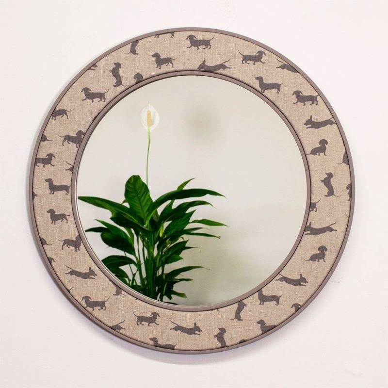 Angus Dachshund Dog Fabric Mirror Hanging