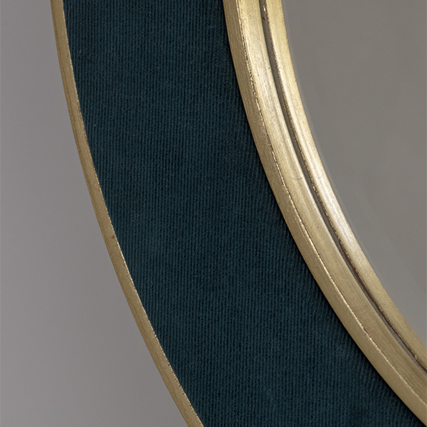 The Patrick Dark Teal Close Up Photograph Showing the Fine Corduroy and Gold Metal Leaf Frame