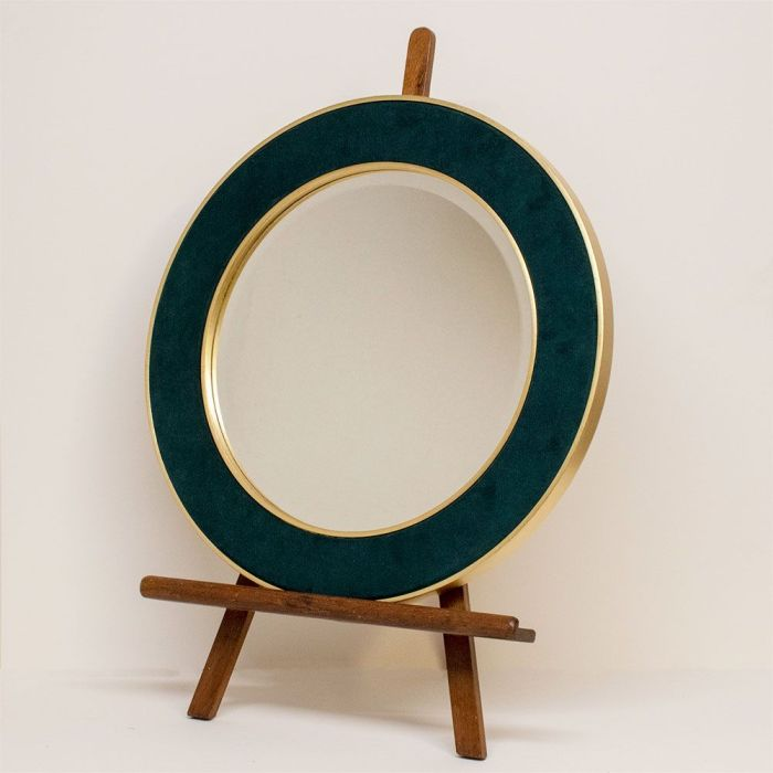 Dark Teal Corduroy Patrick Mirror on Easel