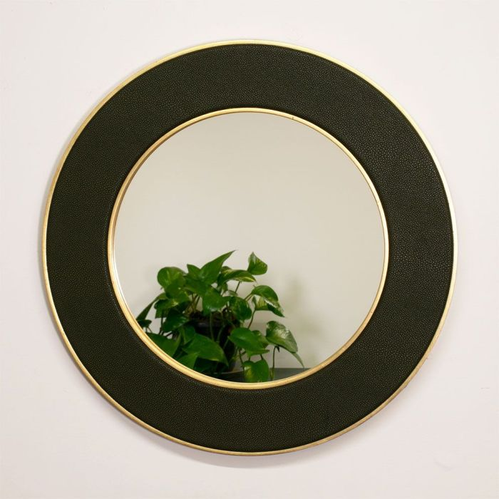 Otis Faux Shagreen Mirror with Gold Frame and Reflection