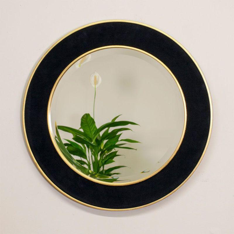 Patrick Corduroy Round Mirror with Reflection