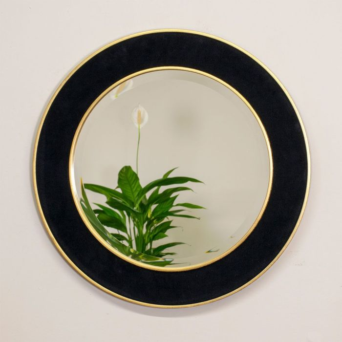Patrick Corduroy Round Mirror with Reflection