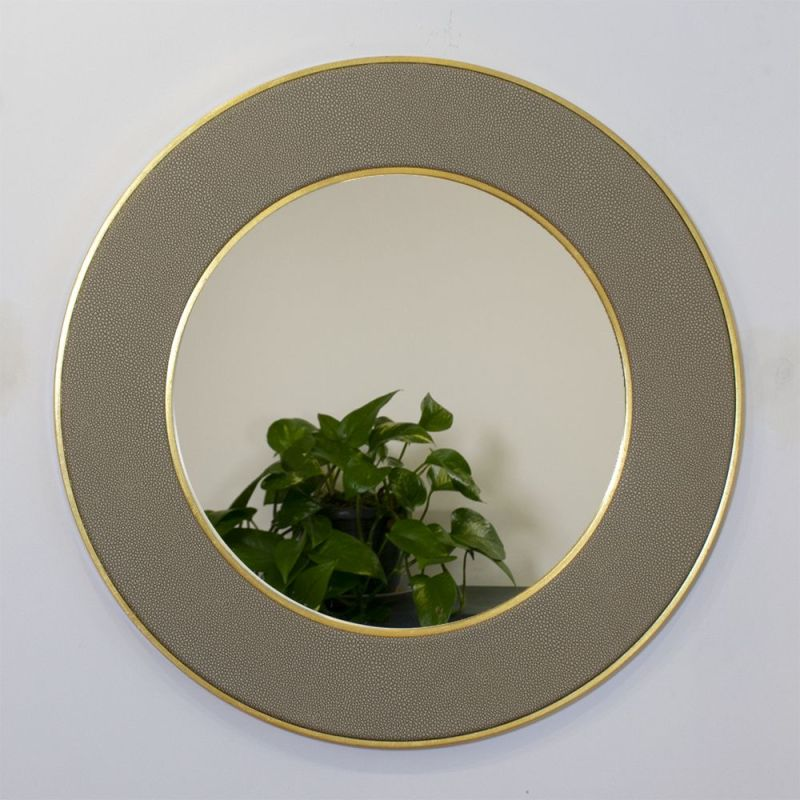 Otis Faux Shagreen Mirror in Sand Colour