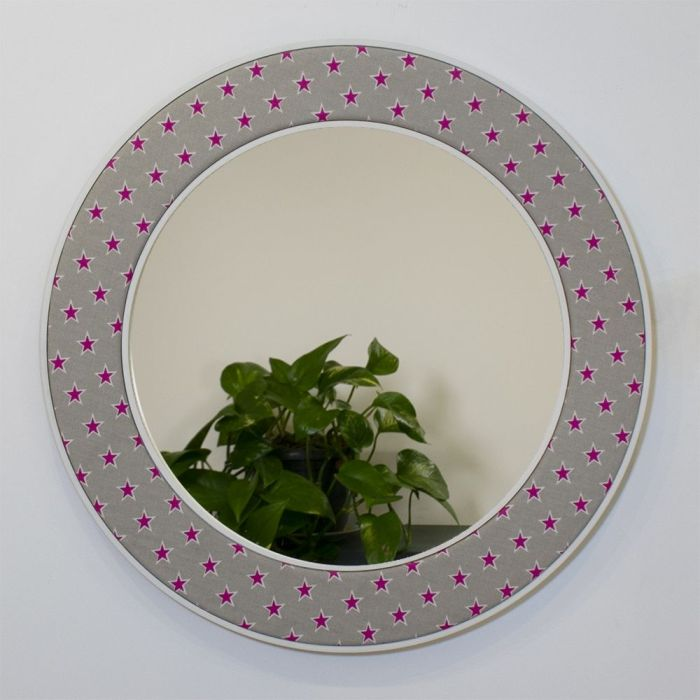 Shooting Stars Round Mirror in Pink