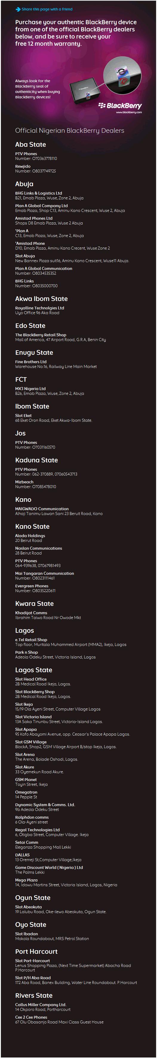 List Of Authentic BlackBerry Dealers In Nigeria