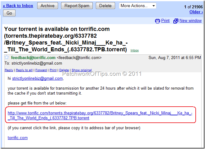 email torrent