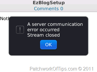 WordPress Server Communication Error