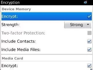 Activate BlackBerry Encryption on Device and Media Card