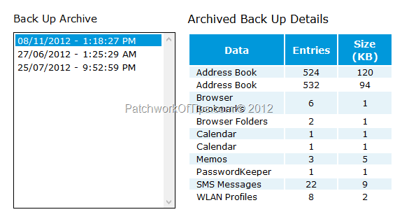 BlackBerry Protect BackUp Archive