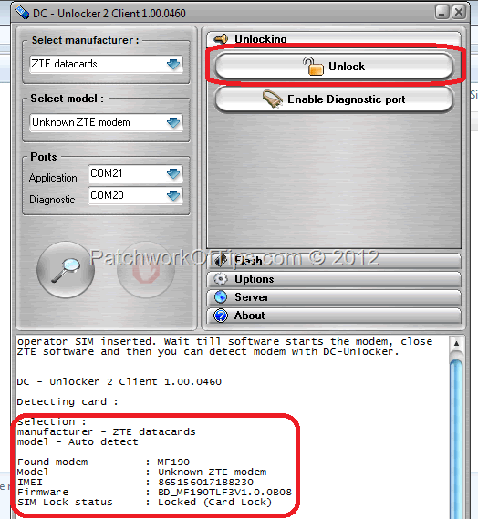 Locked ZTE modem status