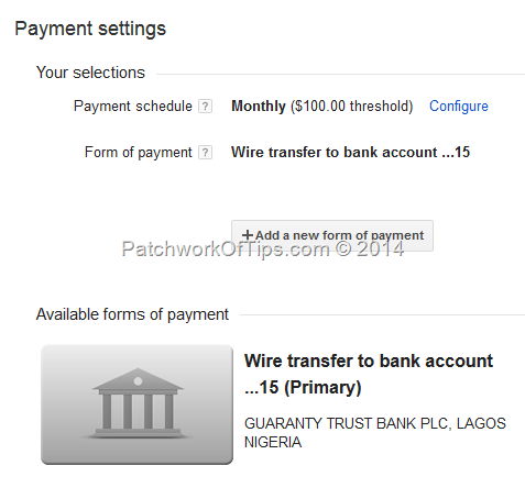 Google Adsense Wire Transfer Enabled Payment Settings