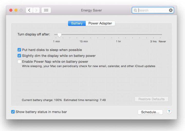 Mac OS X Battery Saver Mode