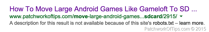 Google Bot, Robots.txt and Google Panda issues