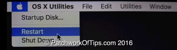 Mac OS X El Capitan Recovery Restart System
