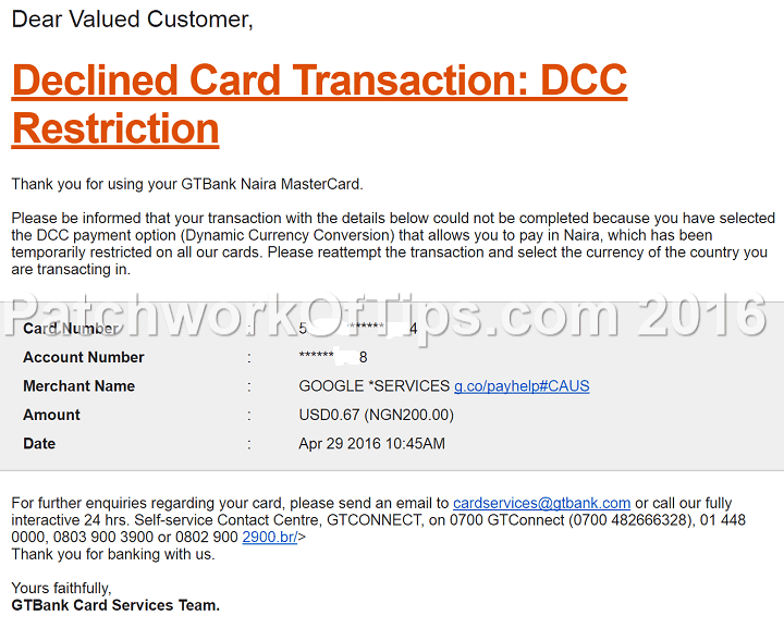 GTBank Google Play Declined Transaction