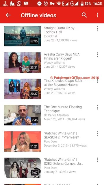 View List of YouTube Offline Videos