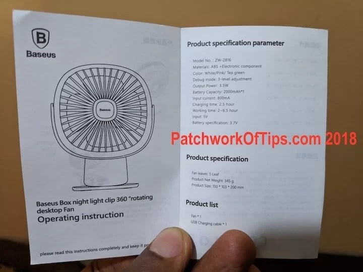 BaseUS USB Fan English Manual Specs