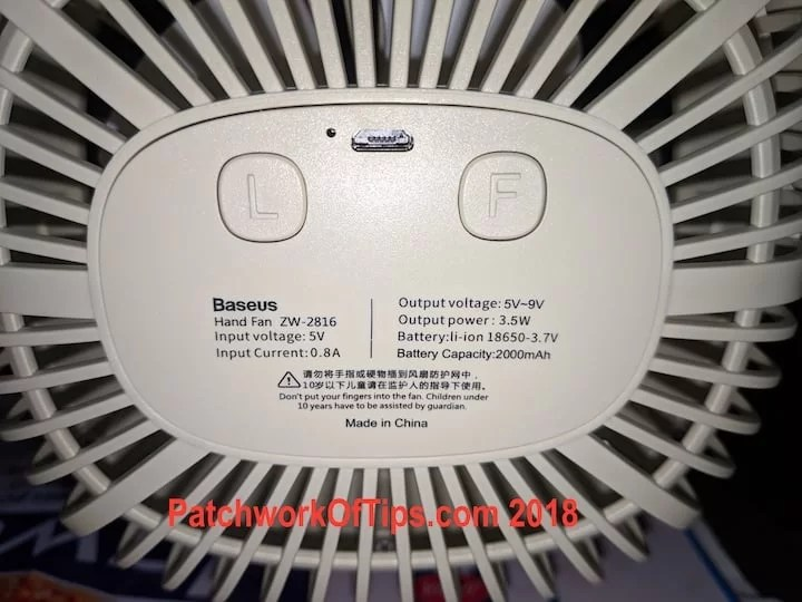 BaseUS ZW-2816 Desktop USB Fan Back 2