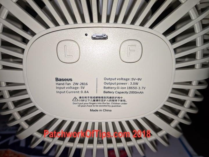 BaseUS ZW-2816 Desktop USB Fan Back 2