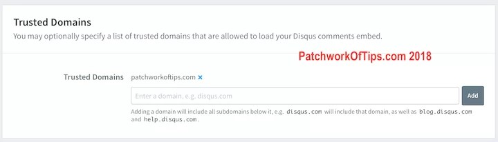 Disqus Trusted Domains