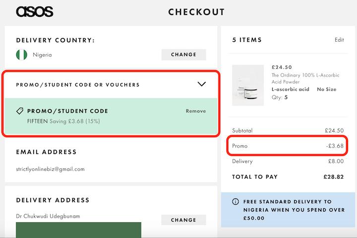 ASOS Promo Code Checkout