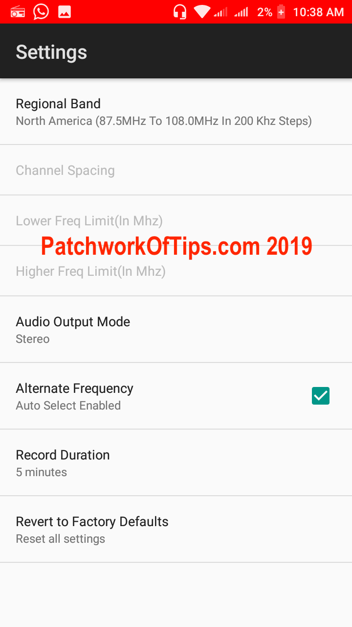 Xiaomi Redmi Go Screenshots FM Radio Settings