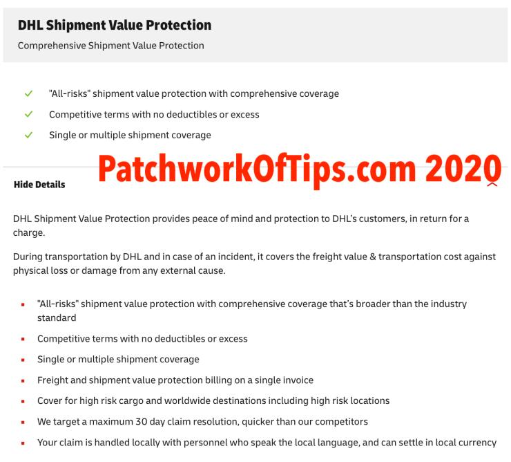 DHL Africa Eshop Shipment Protection