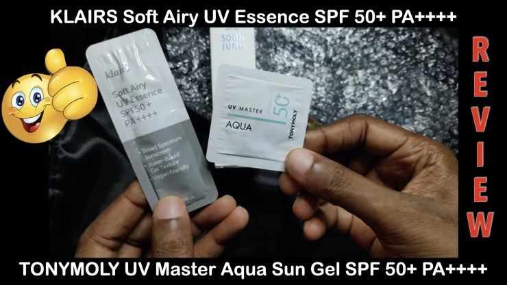 Klairs_Soft_Airy_UV_Essence_TONYMOLY_UV_Master_Aqua_Sun_Gel_Review
