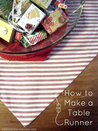 how to make a table runner in 30minutes with a point end | PatchworkPosse #easysewingproject #tablerunner #homedecor