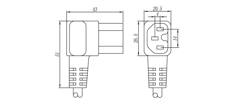 """1044 """"IEC"""" Connector Female 2 pole + E ANGLED"""
