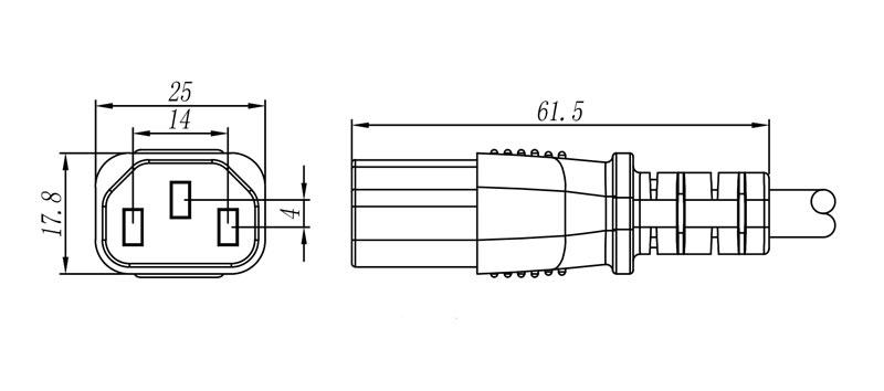"PC 588 ""IEC"" Connector Female 2 pole + E STRAIGHT"