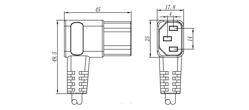 """PC 688 """"IEC"""" Connector Female 2 pole + E ANGLED"""