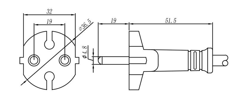 790460 European Plug 2 pole STRAIGHT