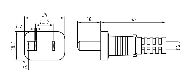 DMP 19 Chinese Plug 2 pole + E STRAIGHT
