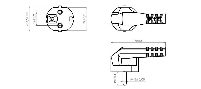 S-22 European Plug 2 pole + E ANGLED