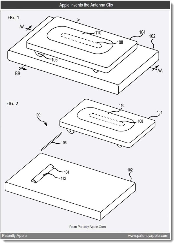New Patents Surface for an iPhone Antenna Clip, Solar