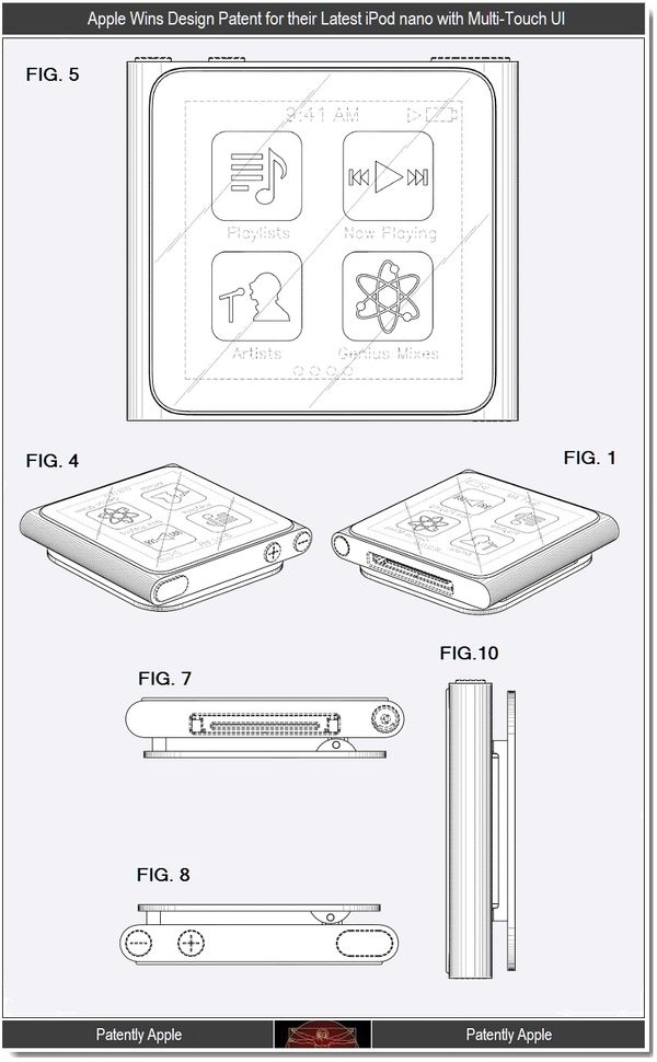 Apple Wins Design Patents for the Multi-Touch iPod Nano