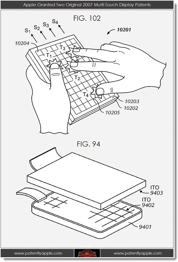 Apple Granted Two Original 2007 Multi-Touch Display