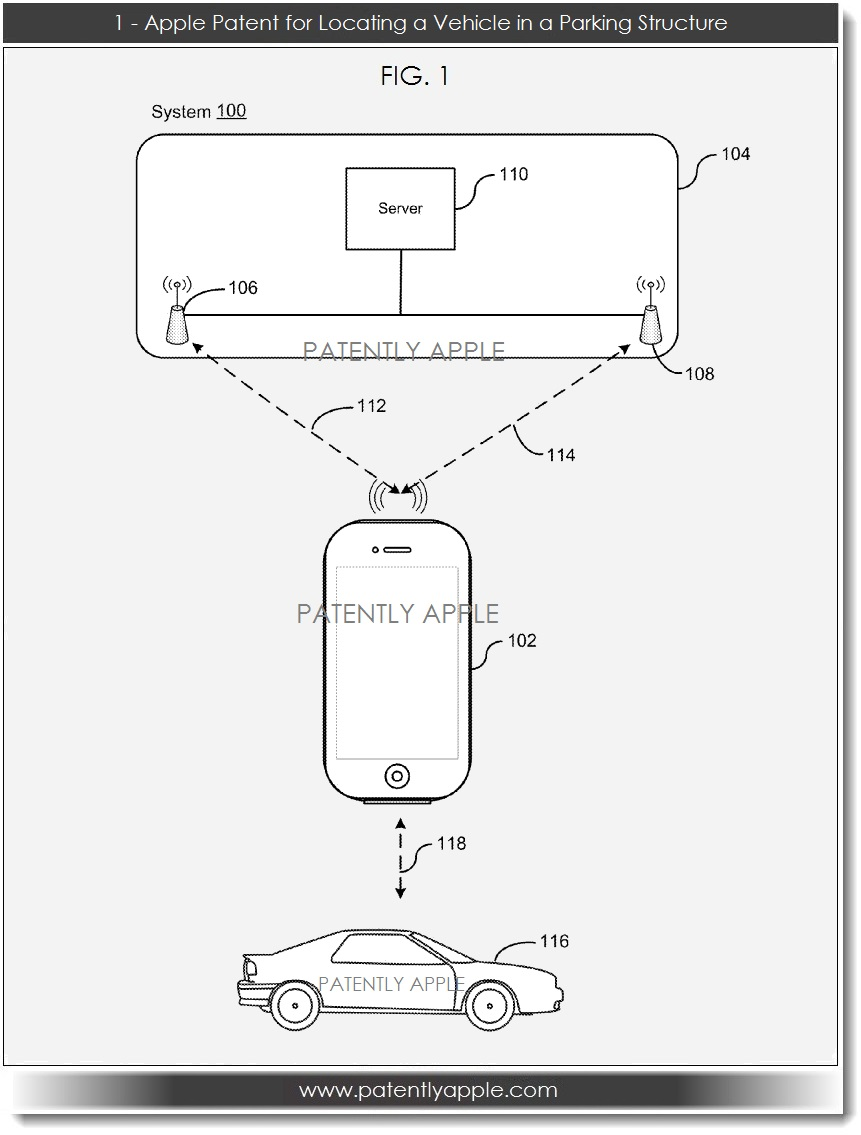 medium resolution of apple patent filing for locating a vehicle in a parking structure