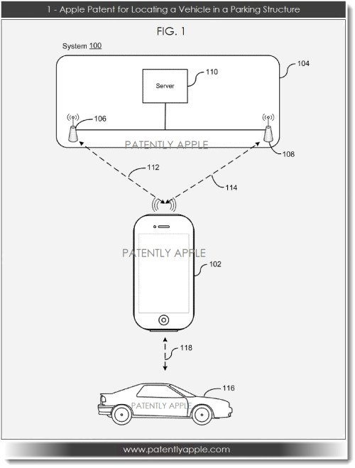 small resolution of apple patent filing for locating a vehicle in a parking structure